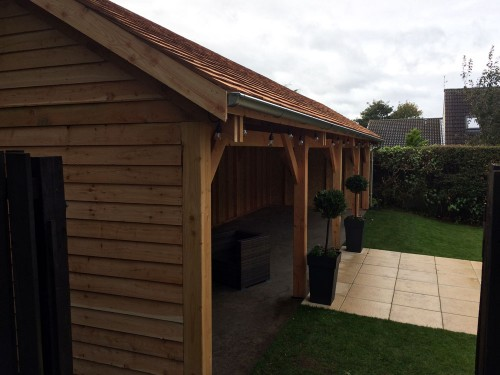 Larch Open Shelter with a Cedar shingle roof